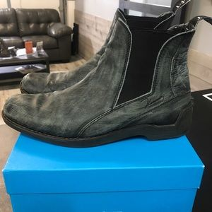 John Fluevog Distressed Grey Boots